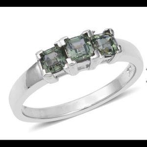 Green Sapphire Asscher Cut Trilogy Ring! AMAZING!